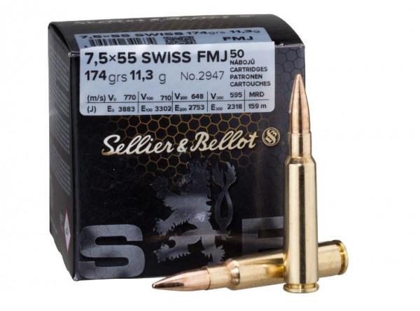 SELLIER & BELLOT - 7,5x55 SWISS - 174 GRS. - FMJ - 50 SCHUSS