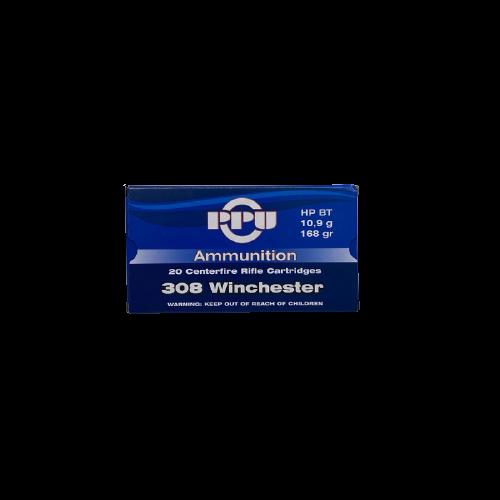 PPU BÜCHSENPATRONEN 308WIN - 168 GRS. - HPBT - 20 SCHUSS